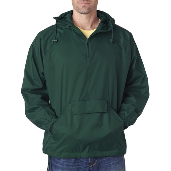 Quarter Zip Men's Big and Tall Forest Green Hooded Pullover Pack-Away Jacket