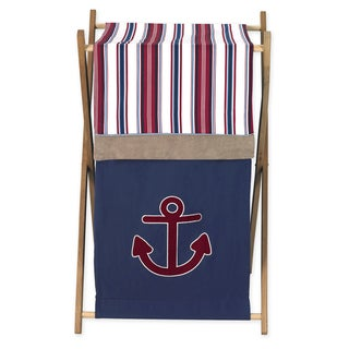 Sweet JoJo Designs Nautical Nights Collection Wood/Fabric Laundry Hamper