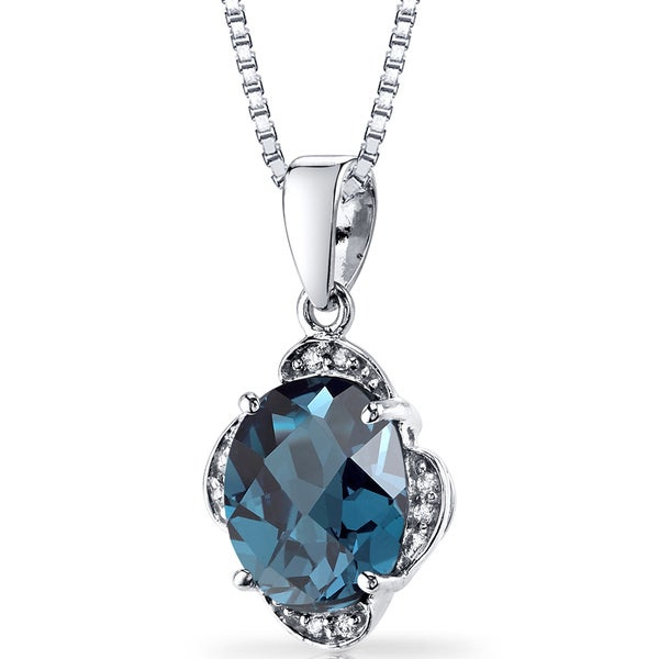 Oravo 14k White Gold 3ct TGW London Blue Topaz and Diamond Accent Pendant