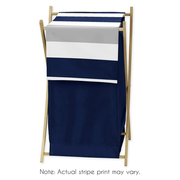 Sweet Jojo Designs Stripe Collection Navy Blue/Grey Wood/Mesh Laundry Hamper