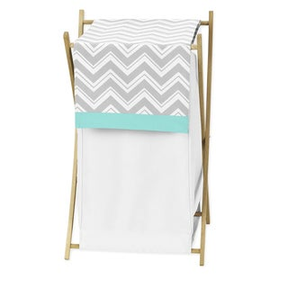 Sweet Jojo Designs Gray and Turquoise Blue Zig Zag Collection Laundry Hamper