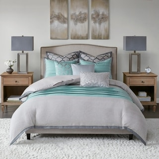 Hampton Hill Tranquility Oversized & Overfilled Comforter Set Includes Euro Shams and Decorative Pillows
