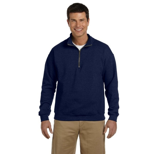 Men's Vintage Classic Quarter-Zip Cadet Collar Navy Sweatshirt (XL)