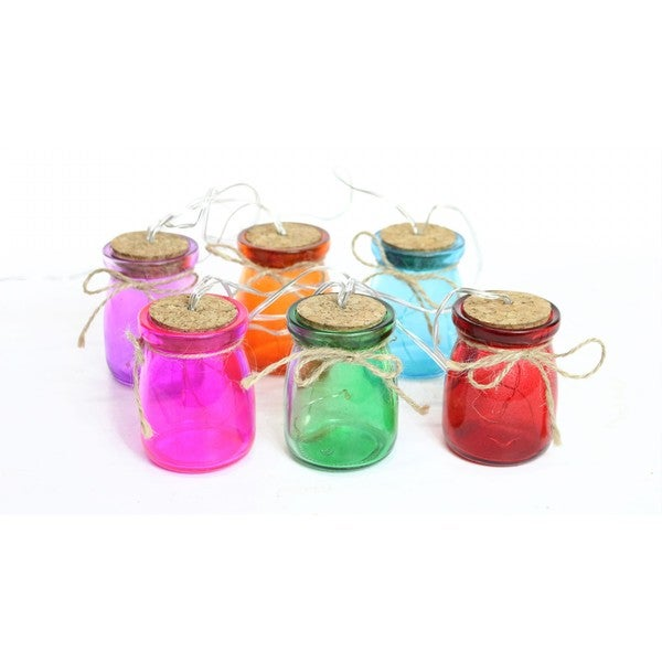 Multi-Colored Glass Jar LED Light Decor- Set of 6