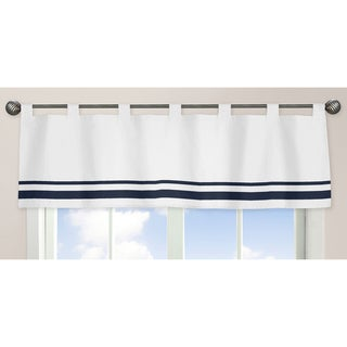 Sweet Jojo Designs White and Navy Hotel Collection Window Curtain Valance