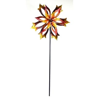 Metal Double-Sided Flame Flower Spinning Garden Stake