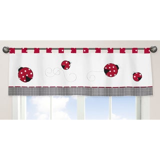Sweet Jojo Designs Polka Dot Ladybug Collection Window Curtain Valance