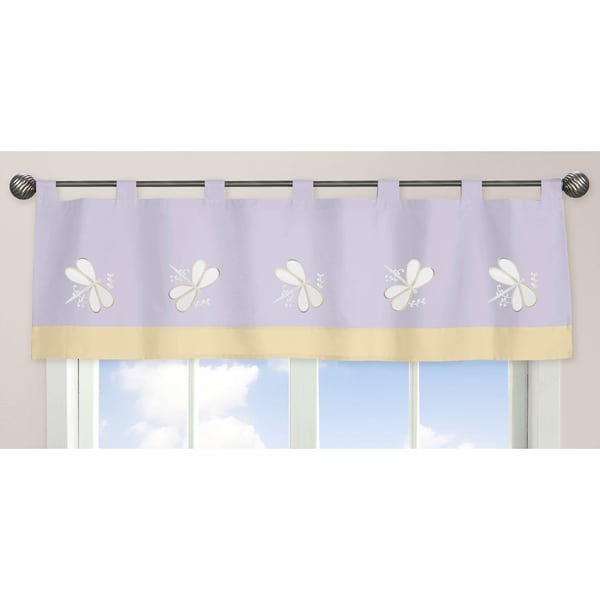 Sweet Jojo Designs Purple Dragonfly Dreams Collection Fabric 15-inch x 84-inch Window Valance
