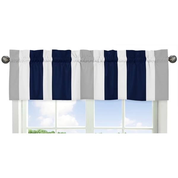 Sweet Jojo Designs Navy Blue and Gray Stripe Fabric 15-inch x 54-inch Window Valance