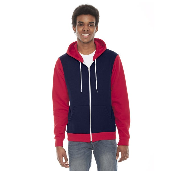 Unisex Flex Fleece Zip Navy/Red Hoodie(S, XL)