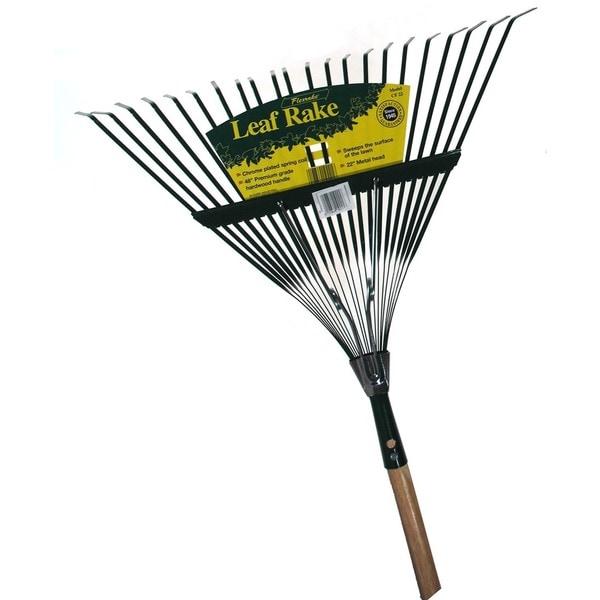 Flexrake CF22 48-inch Handle 22-inch Medium Spring Action Metal Head Leaf Rake