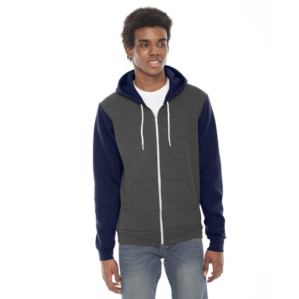Unisex Flex Fleece Zip Dark Heather Grey/Navy Hoodie(S, XL)