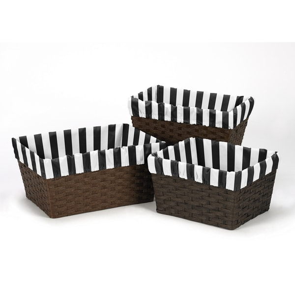 Sweet Jojo Designs Paris Collection Microfiber Stripe Print Basket Liners