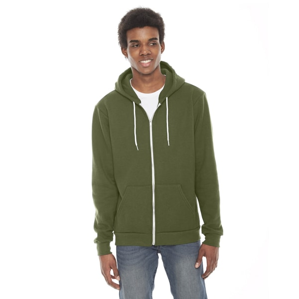 Unisex Flex Fleece Zip Barrack Green Hoodie