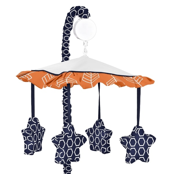 Sweet Jojo Designs Orange and Navy Blue Arrow Collection Musical Mobile