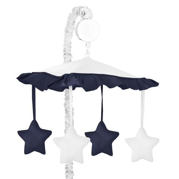 Sweet Jojo Designs White and Navy Hotel Collection Musical Mobile