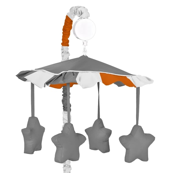 Sweet Jojo Designs Stripe Collection Gray and Orange Musical Mobile