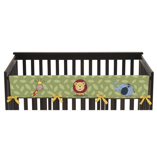 Sweet Jojo Designs Long Crib Rail Guard Cover for Jungle Time Collection