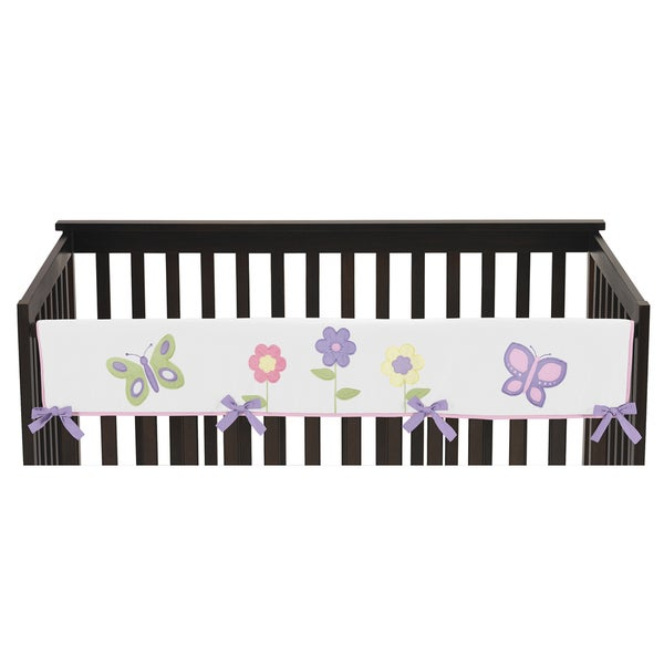 Sweet Jojo Designs Pink and Purple Butterfly Collection Cotton Long Crib Rail Guard Cover
