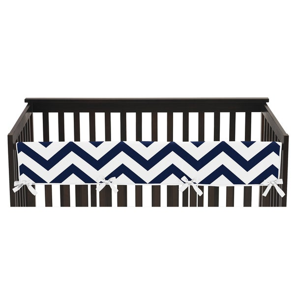 Sweet Jojo Designs Navy Blue and White Chevron Collection Long Crib Rail Guard Cover