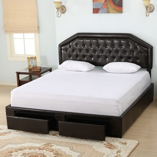 Christopher Knight Home Linden Bonded Leather Full Bed Set with Drawers