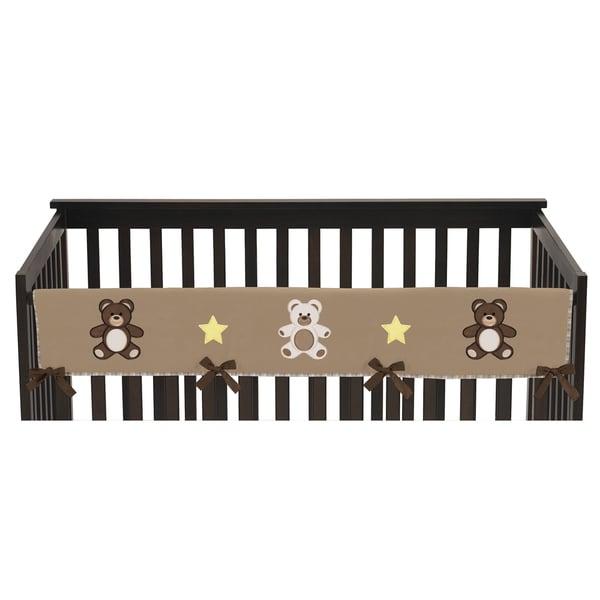 Sweet Jojo Designs Chocolate Teddy Bear Collection Long Crib Rail Guard Cover
