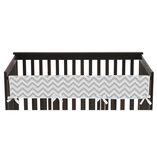Sweet Jojo Designs Zig-Zag Print Long Crib Rail Guard Cover for Grey and Turquoise Blue Zig Zag Collection