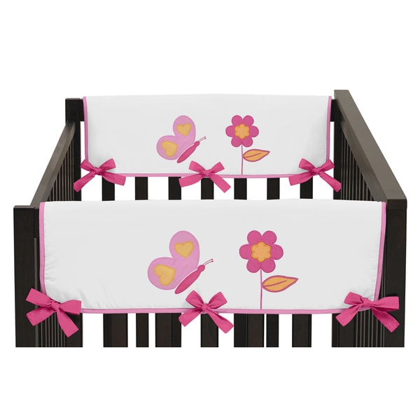 Sweet Jojo Designs Side Crib Rail Guard Covers for Pink and Orange Butterfly Collection (Set of 2)
