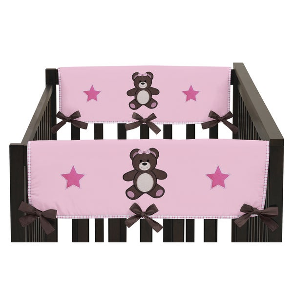 Sweet Jojo Designs Pink Teddy Bear Collection Side Crib Rail Guard Covers (Set of 2)