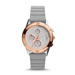Fossil Women's ES4042 Modern Pursuit Chronograph White Dial Grey Silicone Watch