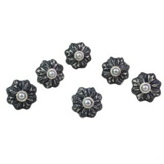 Handmade Flower Harmony Ceramic Cabinet Knobs, Set of 6 (India)