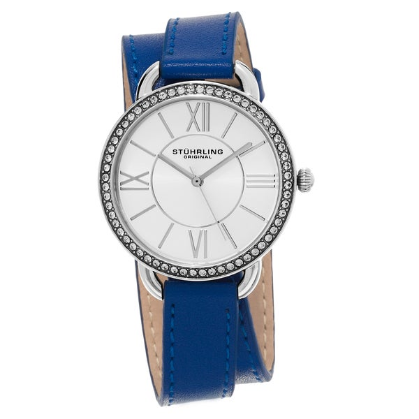 Stuhrling Orignal Women's Swarovski Crystal Deauville Sport Blue Double Wrap Leather Strap Watch 20029621