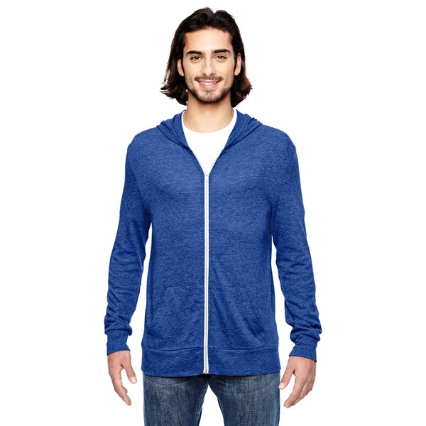 Eco Men's Long-Sleeve Zip Eco Pacific Blue Hoodie (XL)