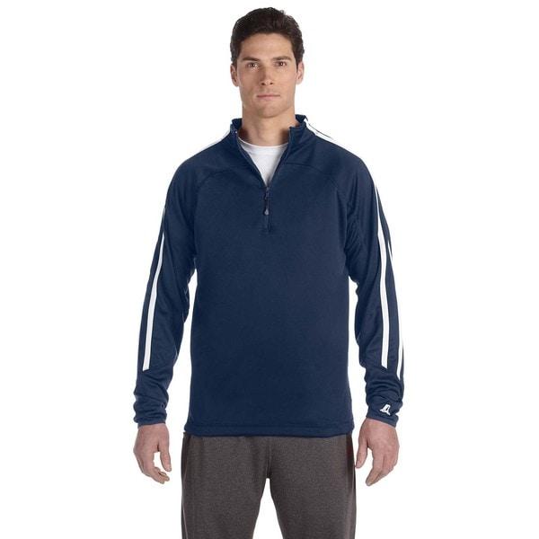 Tech Men's Fleece Cadet Navy/White Quarter-Zip