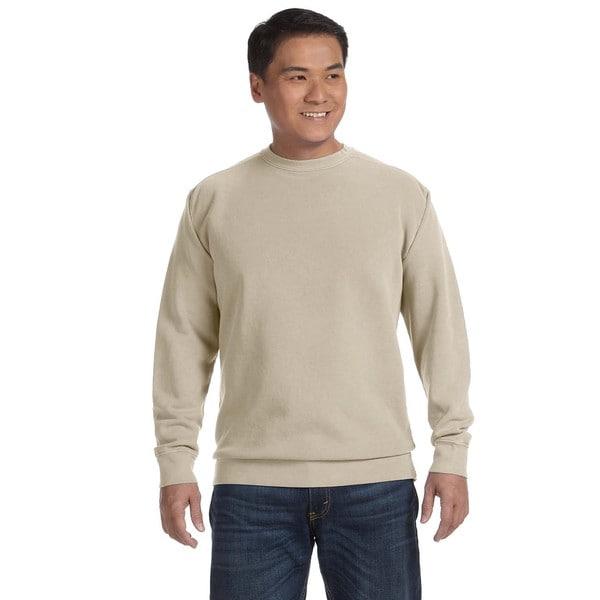 Garment-Dyed Fleece Men's Crew-Neck Sandstone Sweater