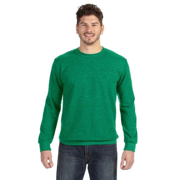 Adult Crew-Neck Men's French Terry Heather Green Sweater 20031181