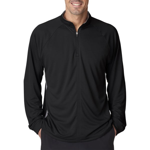 Cool and Dry Sport Quarter Zip Men's Pullover With Side Panels Black/Grey Sweater