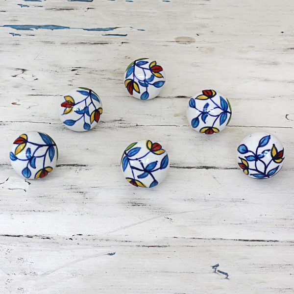 Set of 6 Ceramic 'Vibrant Beauty' Cabinet Knobs (India) 20031478