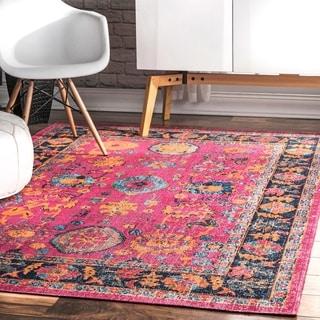 nuLOOM Vintage Persian Distressed Floral Pink Rug (4' x 6')