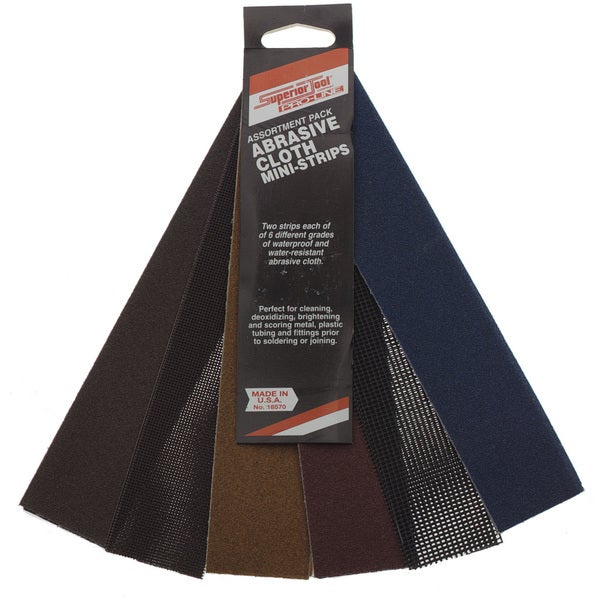 Superior Tool 18570 Abrasive Cloth Mini Strips Assortment Pack