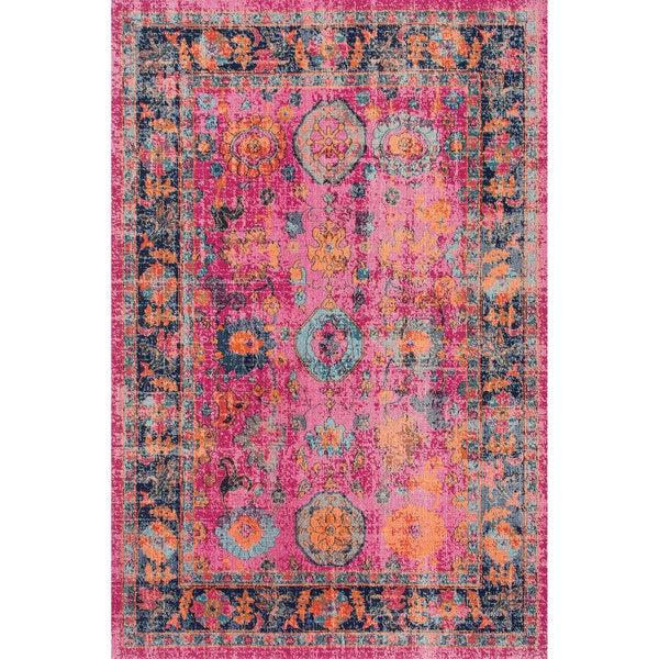 NuLOOM Vintage Persian Distressed Floral Pink Rug (8' X 10