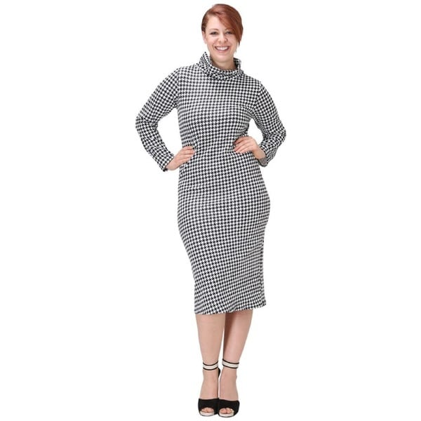 Women's Houndsooth Plus-size Long-sleeve Midi Dress