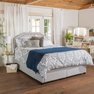 Christopher Knight Home Linden Upholstered Tufted Fabric Queen Bed Set with Drawers