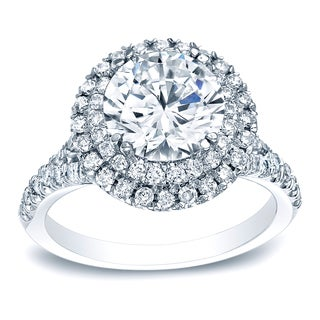 Auriya Platinum 1 5/8ct TDW Certified Round-Cut Diamond Double Halo Diamond Engagement Ring (H-I, SI1-SI2)