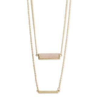 Handmade Artisan 2 Line Gemstone and Gold Bar Layered Necklace (India)