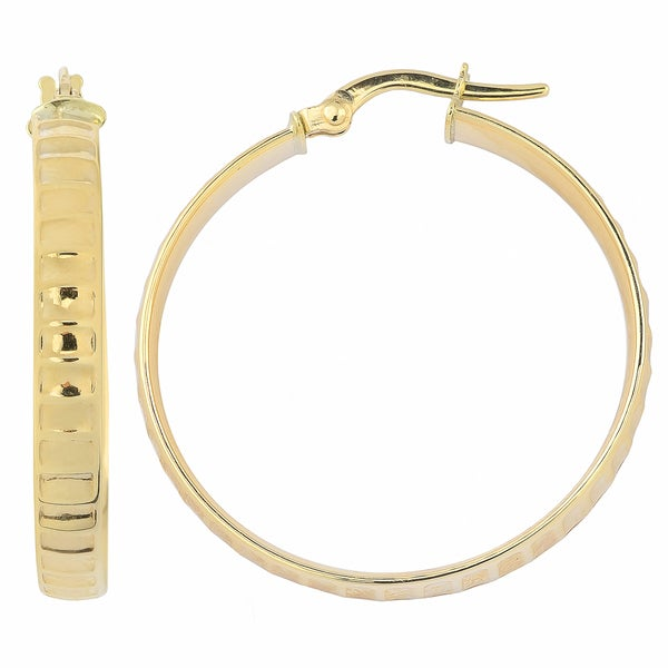 Fremada Italian 14k Yellow Gold 4x25-mm High Polish Ripple Design Surface Round Hoop Earrings 20033416