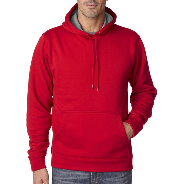 Cool and Dry Men's Sport True Red/Charcoal Hooded Fleece (XL)