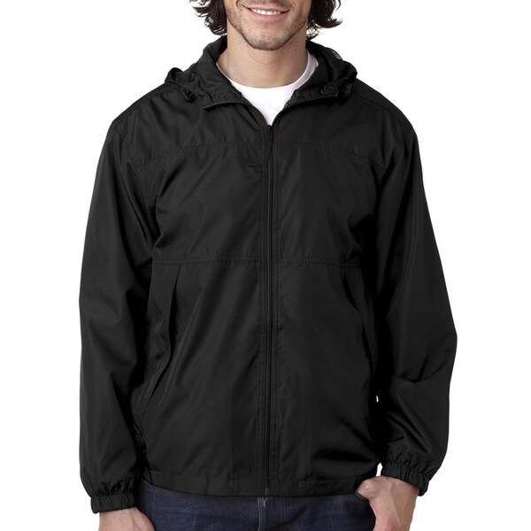 Micro-Poly Men's Black Full-Zip Hooded Jacket(M)
