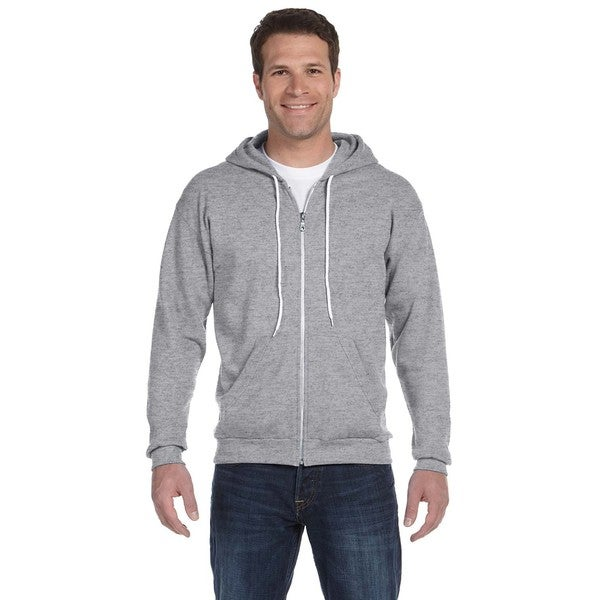 Men's Full-Zip Hooded Heather Grey Fleece (XL)