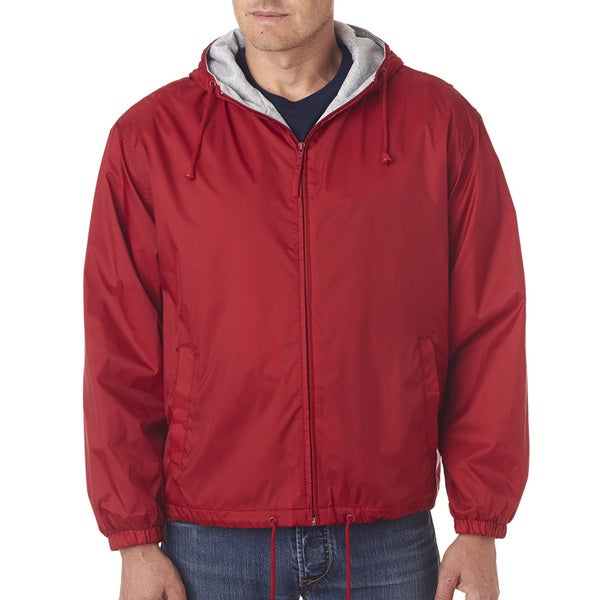 Men's Red Fleece-Lined Hooded Jacket (XL)
